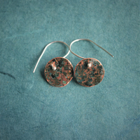 Verdigris Copper Circle  Dangle Earrings