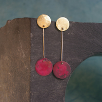 Golden Brass and Red Copper Dangle Earrings