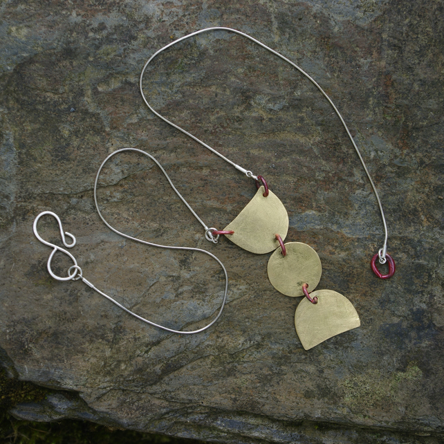 Statement Brass and Copper Geometric Necklace with silver  Chain