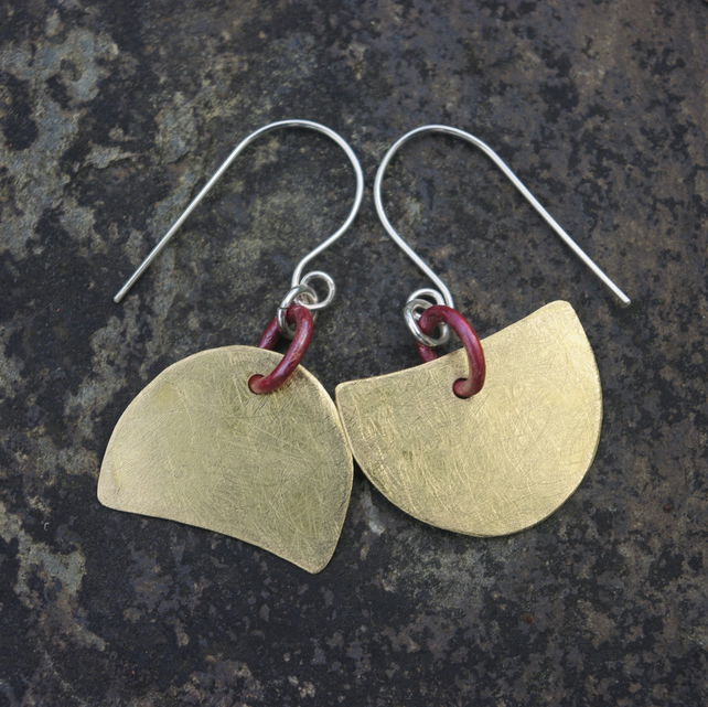 Mismatched Brass and Copper Geometric Dangle Earrings