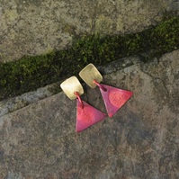Brass Square and Red Copper Triangle  Dangle   Earrings
