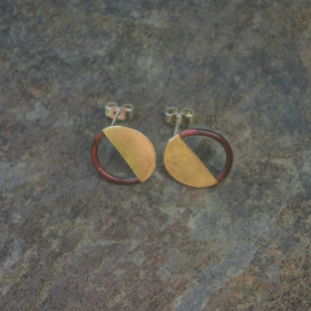 Copper and Brass Half Moon Stud Earrings