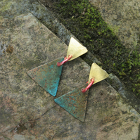 Verdigris Triangle And Brass Triangle Dangle Earrings