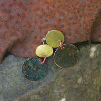 Brass and Large Verdigris Circles Statement Earrings