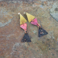 Brass and Copper Triangle Dangle Earrings