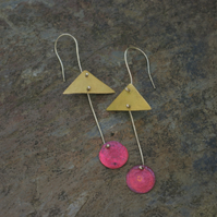 SALE Brass Triangle and Red Circle Long Dangle Earrings