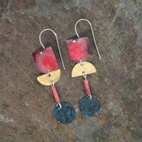 Red , Verdigris and Brass Geometric Long Dangle Earrings