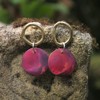 Brass and Red Copper Circles Earrings