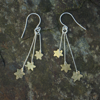 Orion's Belt  Three  Brass Stars Dangle Earrings