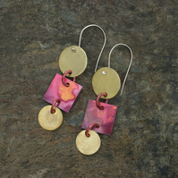 Brass Circles and  Red Copper Square Dangle earrings