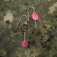 Mismatched Red Copper Circles Earrings