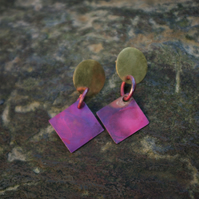 Brass  Circle  with Red  Copper Square Stud  Dangle Earrings