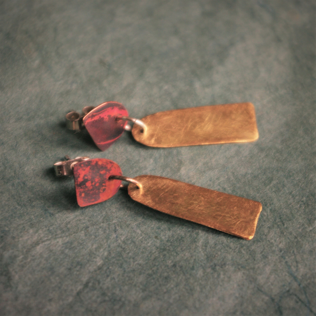 Brass and Copper Geometric  Dangle Stud   Earrings