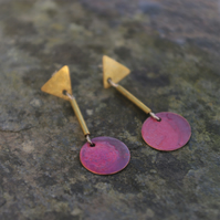 Red and Golden Geometric Dangle Earrings