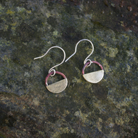 Brass and Copper Half Moon Dangle  Earrings