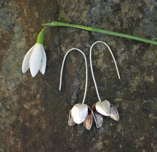 Silver and Copper Statement Snowdrop  Dangle Earrings