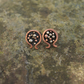 Silver and Shiny Copper Pomegranate Stud Earrings