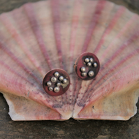 Copper  and Silver Barnacles Stud Earrings