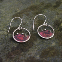 Copper and Silver Circular Landscape Dangle  Earrings