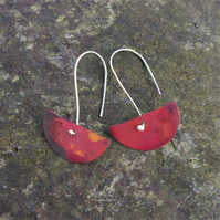 Red Copper  Half Moon Dangle Earrings