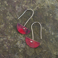 Small Red Copper  Half Moon Dangle Earrings