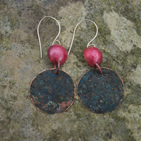Statement  Verdigris Circle and Red Copper  Dome Earrings
