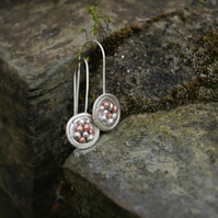 Silver and Copper Pomegranate Dangle Earrings