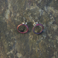 Large Copper Circle Stud Earrings