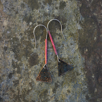 Verdigris Triangle and Red Copper Dangle Earrings