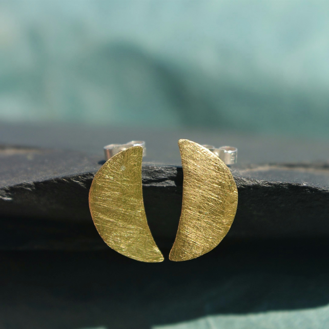 Brass Half Moon Stud Earrings