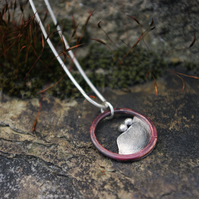 Silver and Copper Landscape Necklace