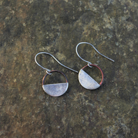 Silver and Copper Half Moon Dangle  Earrings