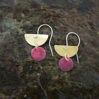 Brass Half Moon Dangle Earrings with Red Circle