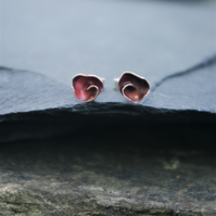 Organic Copper Rosebud Stud Earrings