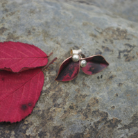Copper Leaf and Silver Berry Stud Earrings