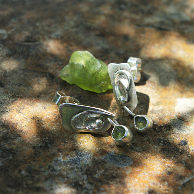 Sterling Silver Dangle Earrings with Peridot Drop