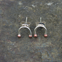 Small Silver and Copper Rainbow Studs