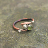 Organic Copper and  Silver Ring with Peridot