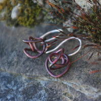Copper  and Silver Squiggle Earrings