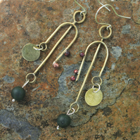 Long Brass Statement Earrings with Green Agate and Copper