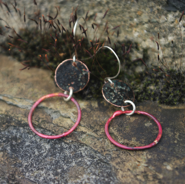 Verdigris and Red Copper Hoop Dangle Earrings