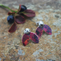 Copper and Silver Leaf and Berry  Stud Earrings