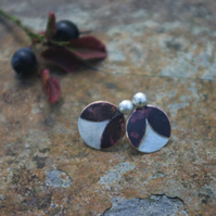 Silver and Copper Leaves and Berry Stud Earrings