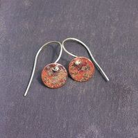 Small Round Textured Copper Dangle Earrings