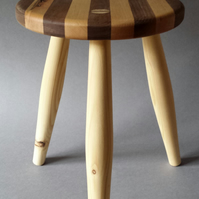 Walnut and maple Milking stool.