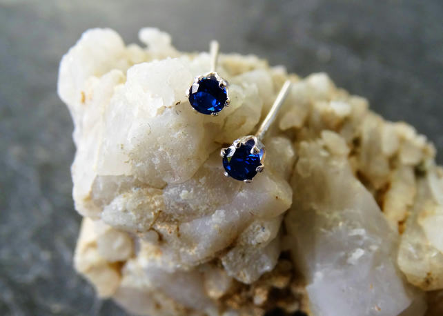 Small sapphire sterling silver studs