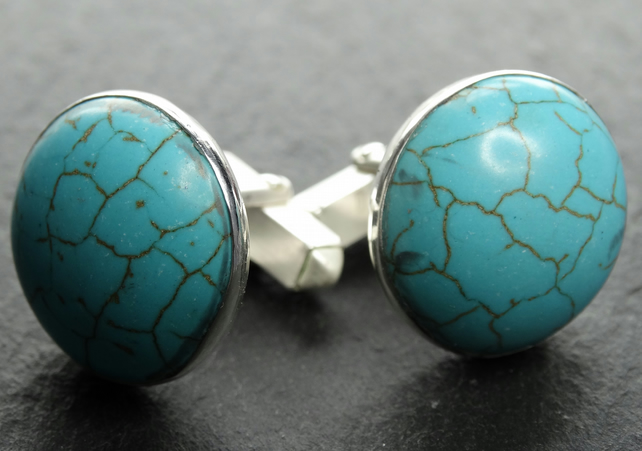 sterling silver 20mm chinese turquoise.