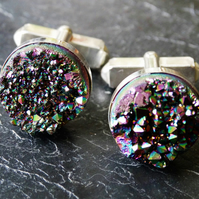 Sterling silver cufflinks with peacock titanium druzy cabochon.