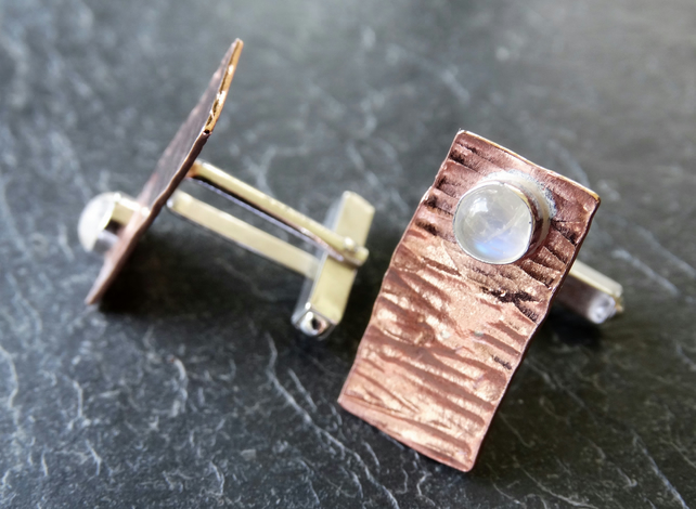 Copper, sterling silver and moonstone cufflinks