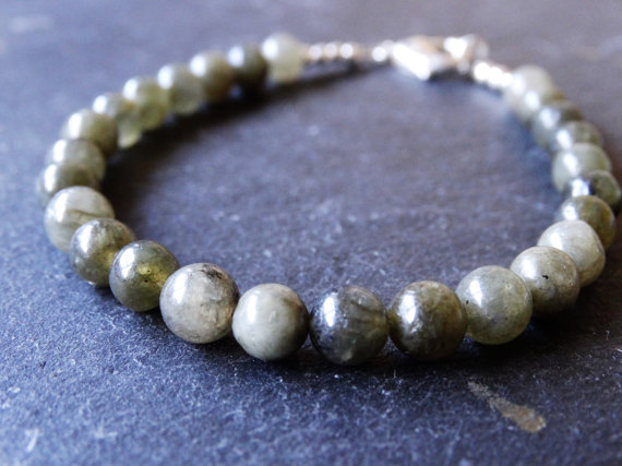 Labradorite gemstone beaded bracelet with sterling silver